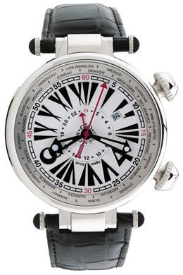 Gio Monaco Mens 379-A Geopolis Collection Automatic Dual Time Rotating Inner Bezel 24 Cities White Dial Watch